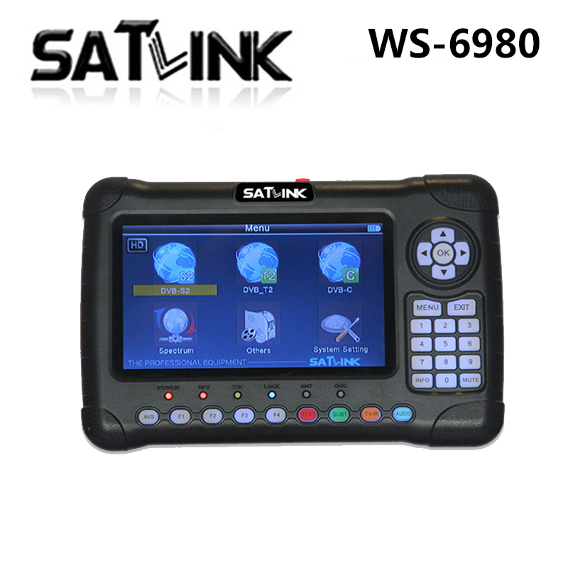 SZ Original Satlink WS-6980 7inch HD LCD Screen DVB-S2 DVB-T/T2 DVB-C 6980 Combo with Spectrum Analyzer finder satlink ws 6979se satellite finder meter 4 3 inch display screen dvb s s2 dvb t2 mpeg4 hd combo ws6979 with big black bag