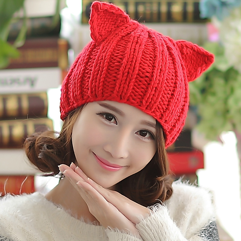 BomHCS Cute Braided Gilr Winter Warm Beanie Devil Horns Cat Ear Crochet Knit Cap Hat футболка toy machine devil cat navy
