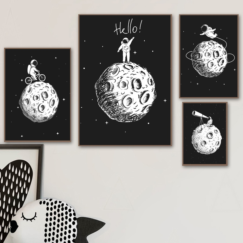 Image 2 - Black White Astronaut Moon Wall Art Canvas Painting Nordic Posters And Prints Cartoon Wall Pictures For Kids Room Nursery Decor-in Painting & Calligraphy from Home & Garden