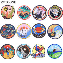 ZOTOONE Round  Patches Dog Planet Diy Stickers Iron on Clothes Heat Transfer Applique Embroidered Applications Cloth Fabric G zotoone round punk patches diy skull stickers iron on clothes heat transfer applique embroidered applications cloth fabric g