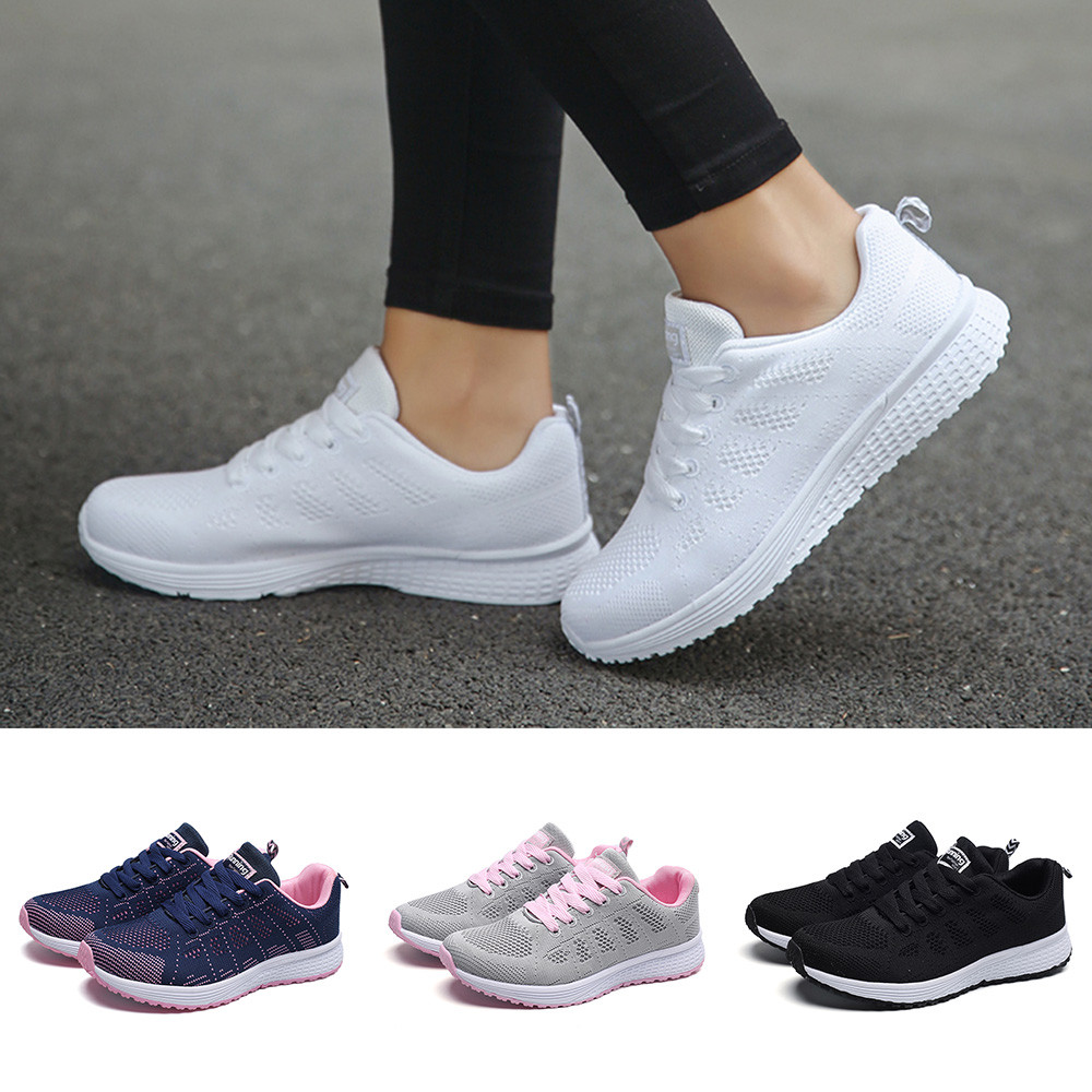 2019 Women's Sneakers Fashion Mesh Round Toe Cross Straps Flat Sneakers Sport Walking Running Shoes Breathable Casual Shoes Hot