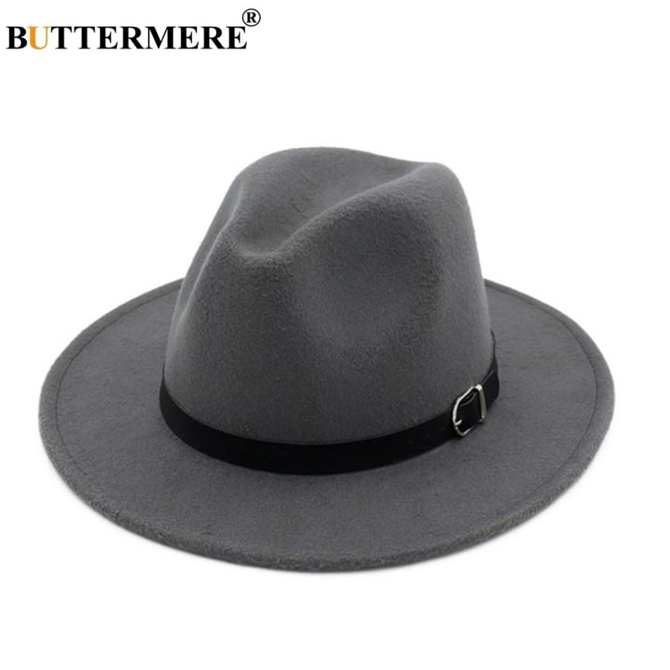 BUTTERMERE Winter Fedoras For Women Blue Wool Felt Hat Belt Female Wide  Brim Vintage Jazz Caps b124621fd