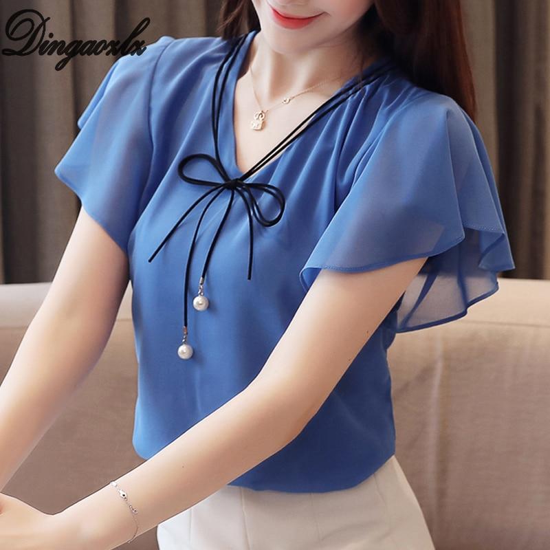 Dingaozlz M-4XL 2019 New Fashion Plus size Women Tops Elegant Chiffon   Shirt   Casual clothing Bow tie Short sleeve Summer   blouse
