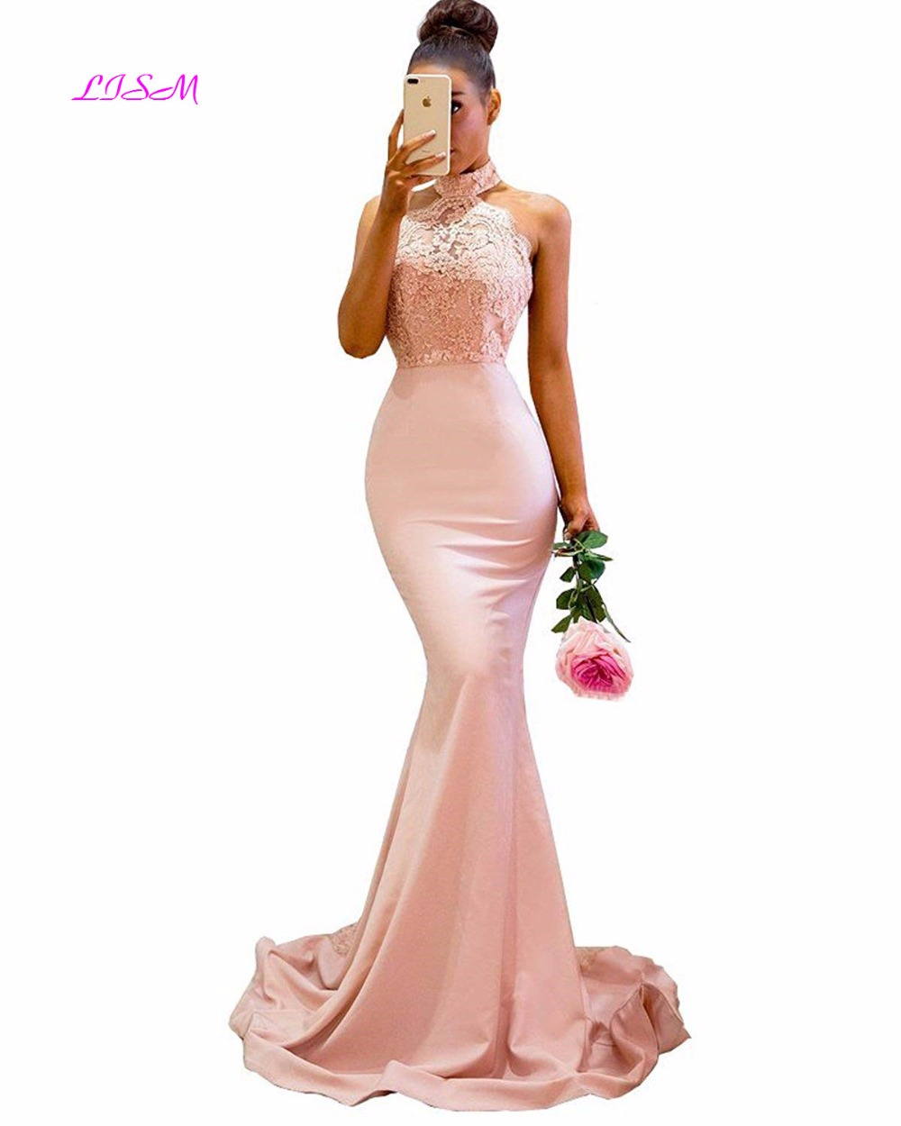 Women's Lace Appliques Mermaid   Bridesmaid     Dress   Halter Long Formal Party Gowns for Wedding High Neck Backless Satin Prom   Dresses