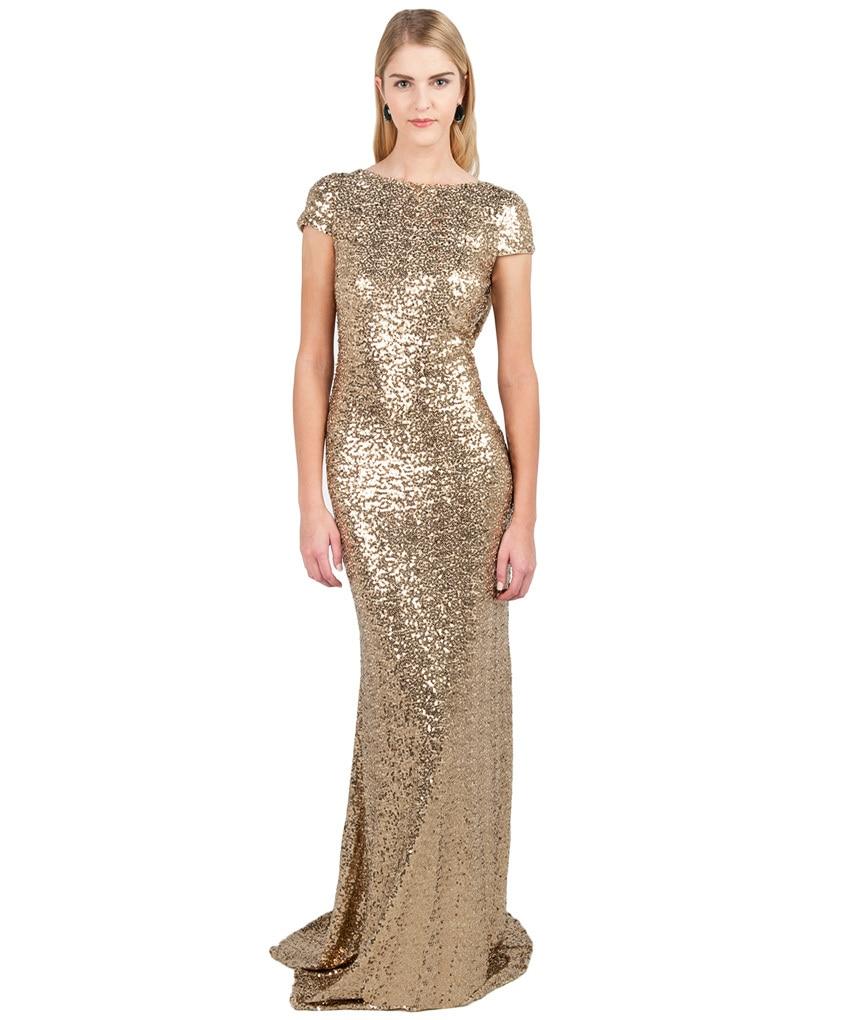 Plus Size Gold Sequin Long Dress