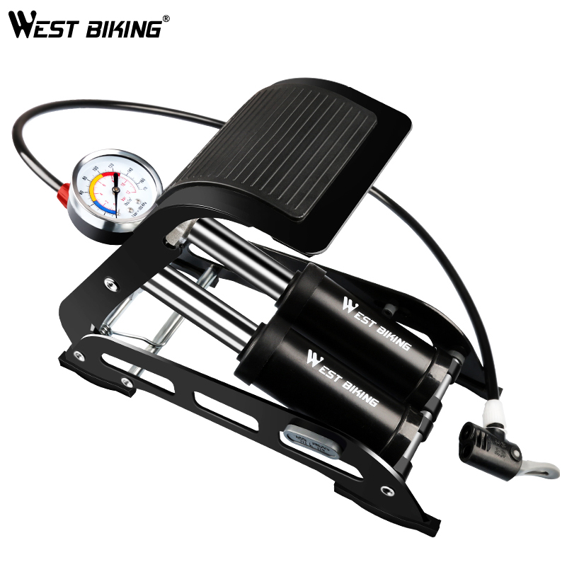 WEST BIKING Cycling Bike Floor Pump 170PSI High Pressure Double Tube Aluminium Schrader Presta Valve Air