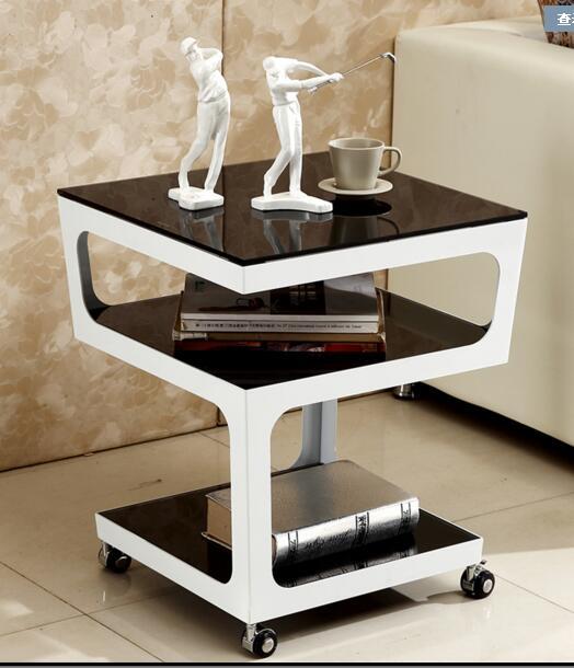 Simple modern sofa corner. Metal tempered glass multi-layer white edge table. Small tea table.. все цены