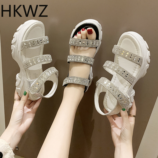Thick-soled rhinestone sandals summer style open toe slip high 5cm sandals girls dress wild sequins gladiator fighting sandals