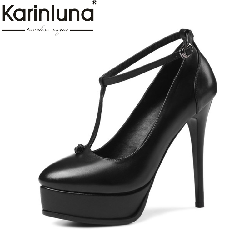 KarinLuna Women's Genuine Leather T-strap Summer Shoes Woman Sexy Ankle Strap Thin High Heel Platform Pumps Size 33-39 цена