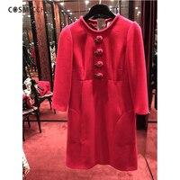 Cosmicchic Для женщин красное платье с круглым вырезом Роза кнопку миди платье 100% шерсть мода взлетно посадочной полосы элегантное платье