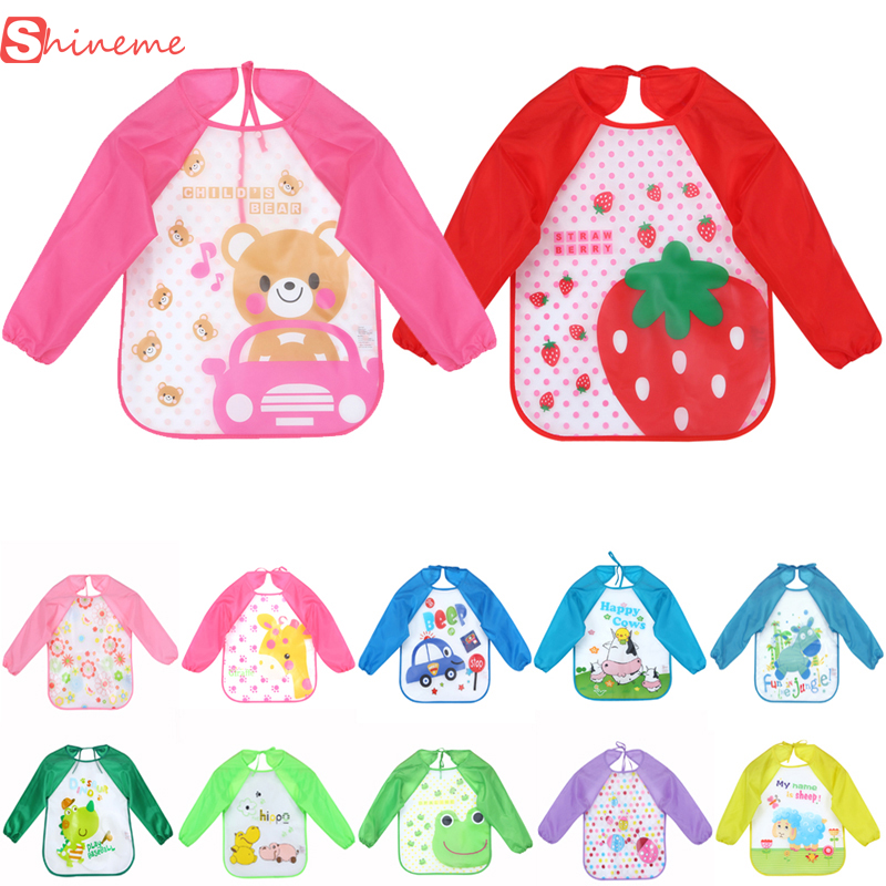 high quality Multi-Colors and Cartoon Printed Long Sleeve Waterproof Coverall Baby Todders Animals Toddler Scarf Feeding Smock