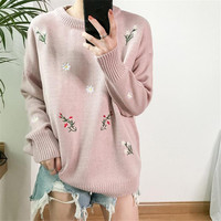 2017 Winter Korea Women S Bts New Round Pink Neck Pullover Kawaii Embroidery Flowers Long Sleeve