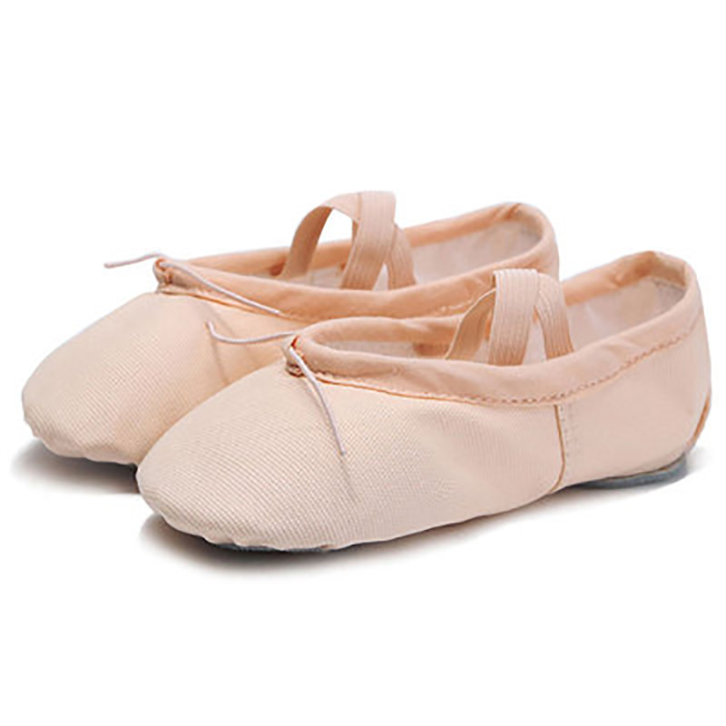 USHINE EU22-45 Cloth Head Yoga Slippers Teacher Gym Indoor Exercise Canvas Black Ballet Dance Shoes Children Kids Girls Woman