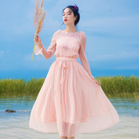 Ladies Vintage Pink Mesh Embroidery Boho Beach Long Dress Summer Women Flare Sleeve Lace up Tunic Elegant Party Dress Vestidos