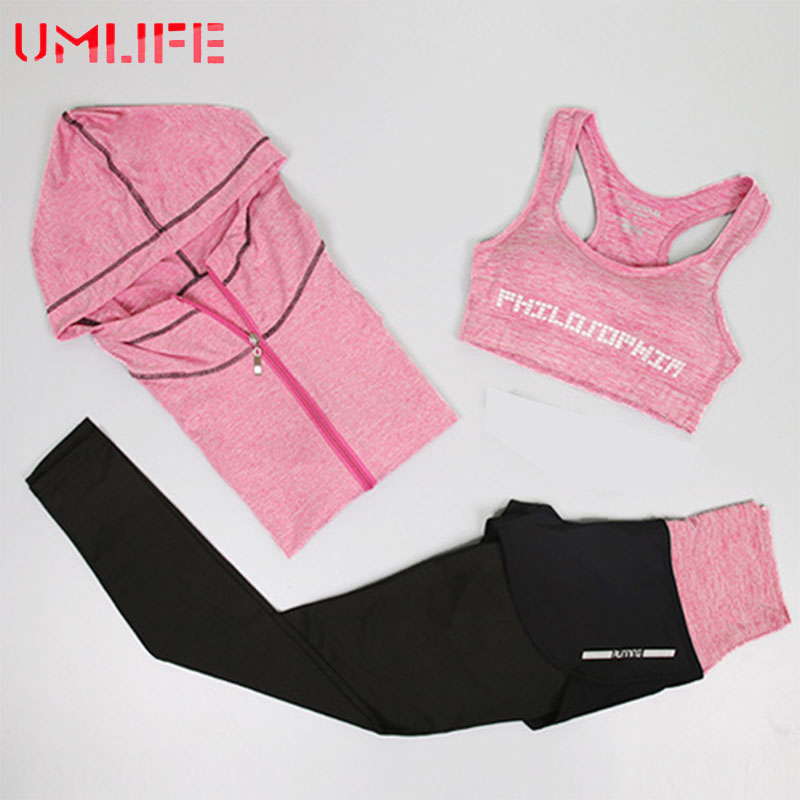 UMLIFE Women Sport Suit Sports Bra and Printed leggings Yoga Set Gym Fitness Running Sportswear Elastic Workout Clothe For Girls все цены