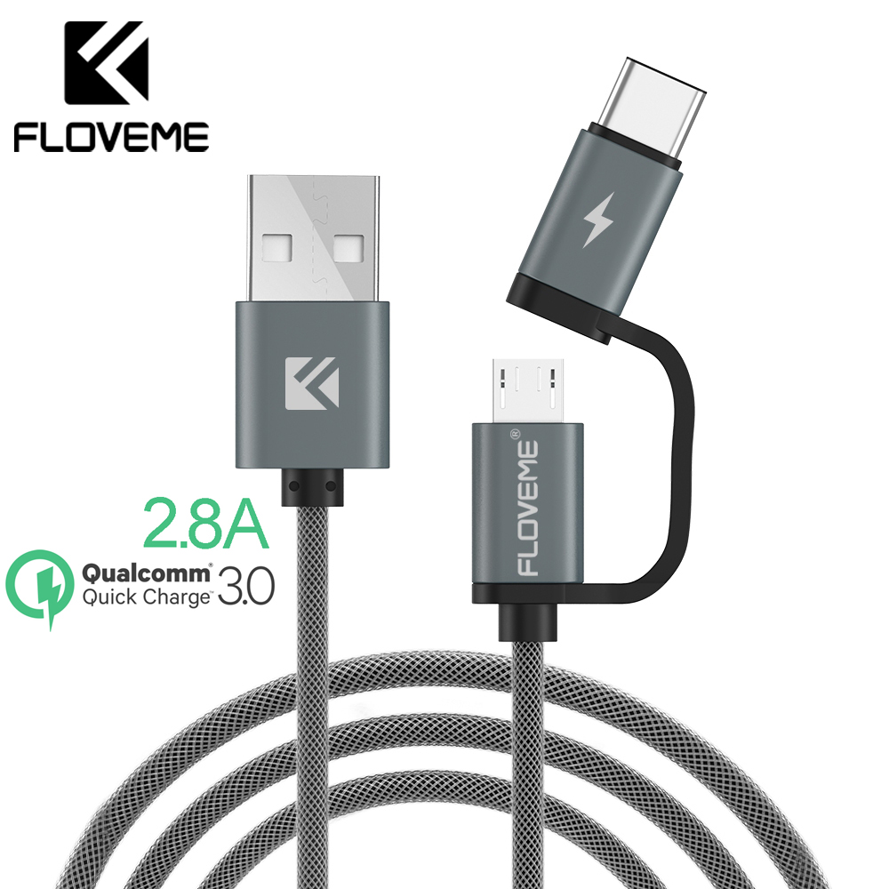 FLOVEME USB-kabel QC 3.0 Micro USB Type C-kabel Hurtig opladning 2in1 Type-C-kabel til Samsung S9 S8 For Huawei P10 For Meizu Pro 7