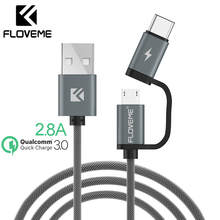 FLOVEME USB Cable QC 3.0 Micro USB Type C Cable Fast Charging 2in1 Type-C Cable For Samsung S9 S8 For Huawei P10 For Meizu Pro 7