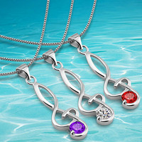 Korean version of the wonderful notes Zircon Sterling Silver box chain necklace female rhodium silver crystal pendant