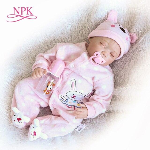 NPK 55cm Soft Body Silicone Reborn Baby Dolls Toy For Sale Best Gift For Girl Kid Girls Newborn NPK Babies