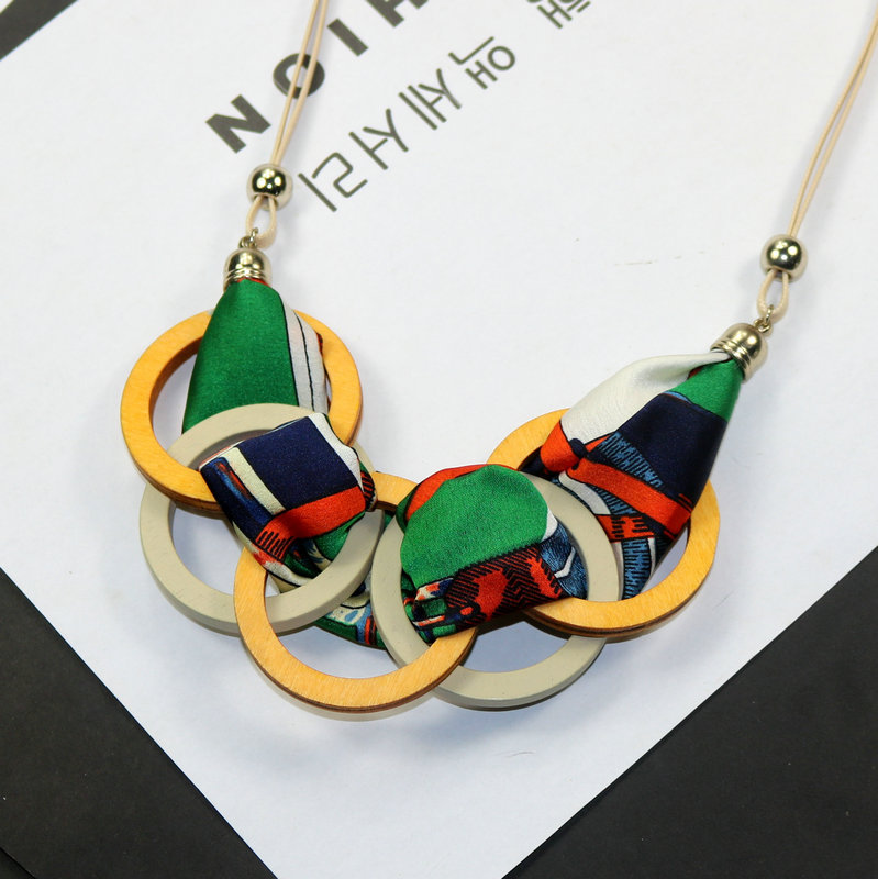 d825f26541e Personality New Woman Necklaces Geometric Wood Big Circle Fabric Pendant  Short Sweater Rope Chain Necklace Fashion Accessories-in Pendant Necklaces  from ...