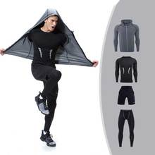4 Pieces Men GYM Compress Fitness Sets Long Tee Top + Legging + Shorts Workout Exercise Sport Shirts Running Tights A209