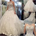 Cathedral Church Train Lace Up Bridal Gowns robe de mariee 2017 Luxury A-Line Halter Crystal Beaded Wedding Dresses 1574