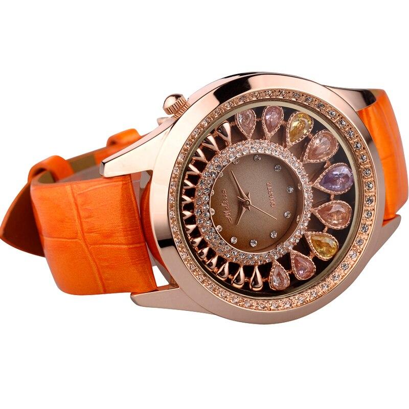 Mulheres de luxo cristal bling strass relógios mulher quartzo resistente à água relógio pulseira couro genuíno rosa senhora relógio - 3