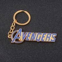 SG Hot Movie The Avengers 4 Blue Letter Keychains Super Hero Thor Hammer Mjolnir Keyring Women Iron Man Loki Chaveiro Jewelry