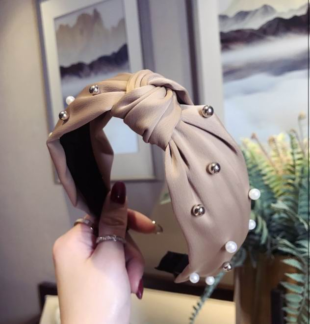 Korea Khaki Cloth Knotted Cross Wide Hairbands For Women Imitation Pearl Gold Metal Ball Hair Bands Headbands Girls Hair Tools
