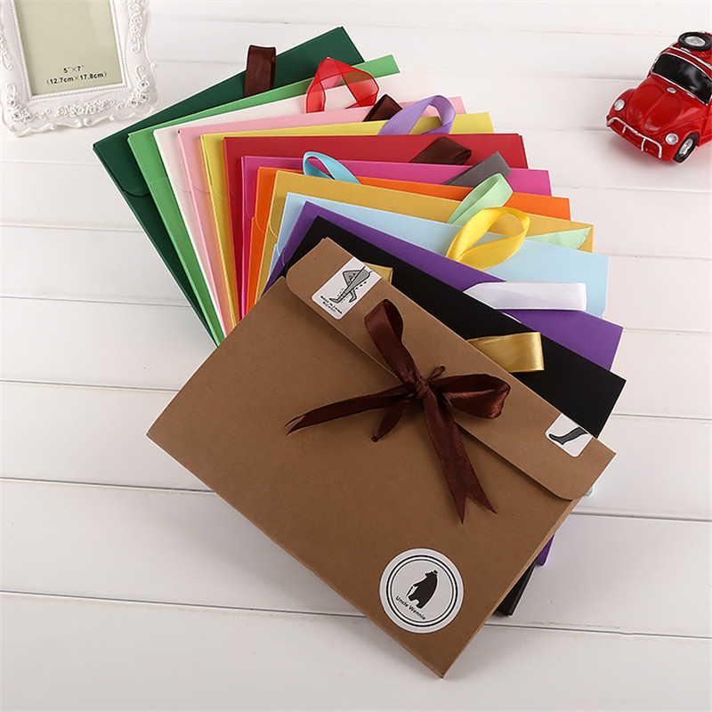500pcs/lot 24*18*0.7cm  bow Envelope Kraft paper pocket bag Kerchief Handkerchief Silk scarf packing boxes Envelope box-in Gift Bags & Wrapping Supplies from Home & Garden    1