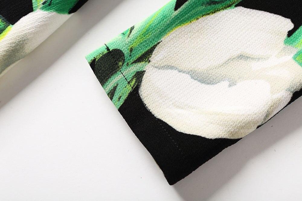 Robe Unique Avec Frais Poitrine Manteau Coupe vent Luxe Femmes Floral Vert Imprimé Longue Twinset Élégant B386 2018 Tranchée Automne Printemps w7ZPIZSaq