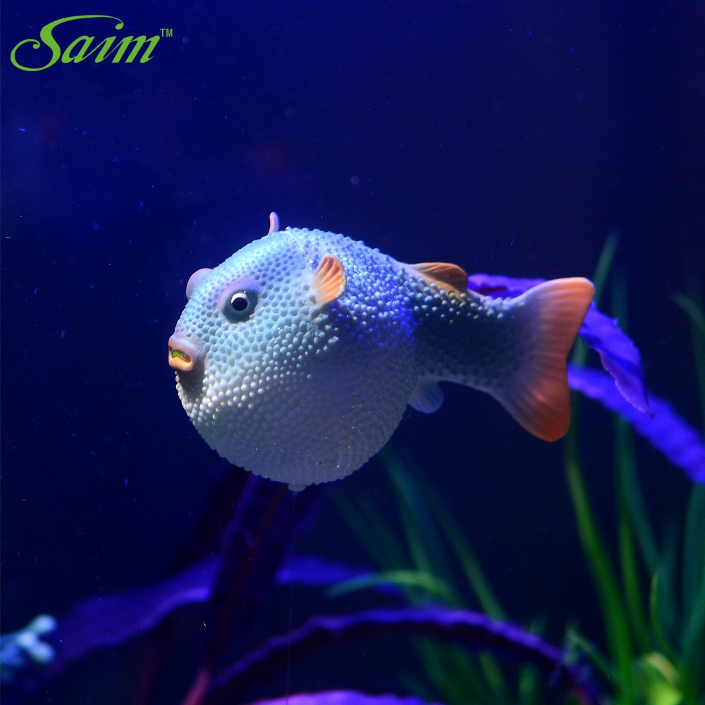 Robot fish Aquarium Cute Silicone Fish Ornaments Artificial Round Rabbit Fish Floated Underwater Fish Tank Landscape Decoration