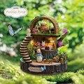 Mais recente Móveis Casa de Bonecas Em Miniatura Diy 3D De Madeira Miniaturas Casa De Bonecas Brinquedos para As Crianças Presentes de Aniversário Fantasia Floresta Y005