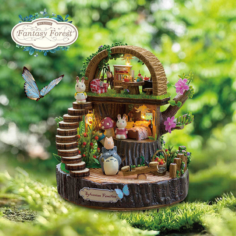 Terbaru Doll House Furniture Diy Miniature 3D Miniaturas Wooden Dollhouse Toys for Children Birthday Hadiah Fantasy Forest Y005