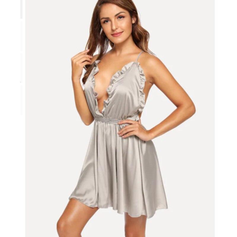 New Hot Sexy Women Lingerie Mini Dress Babydoll Ladies Underwear Sleeveless Nightwear Backless Sleepwear V Neck Nighty S-XL 2019 1