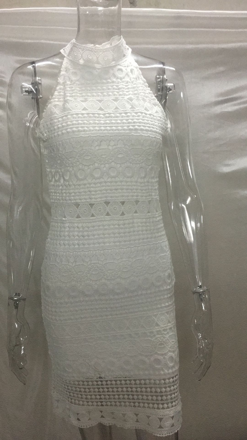 Elegant Sleeveless Hollow Out Lace Mini White Dress