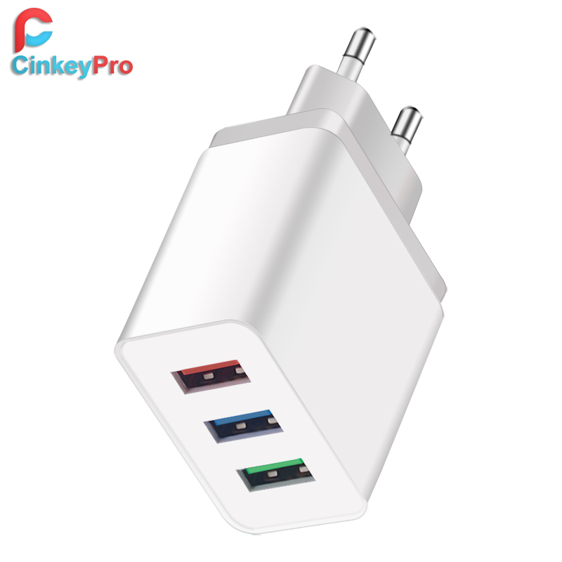 CinkeyPro 3-Ports USB Charger for iPhone X 8 iPad Samsung 5V/3A Fast Charging Mobile Phone Universal Charge Wall Adapter