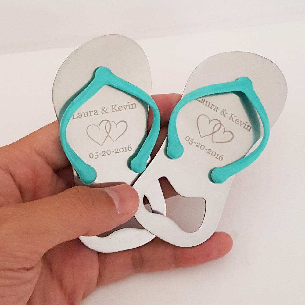 Personalized Wedding Anniversary Party Favor Flip Flop Jandal Shaped