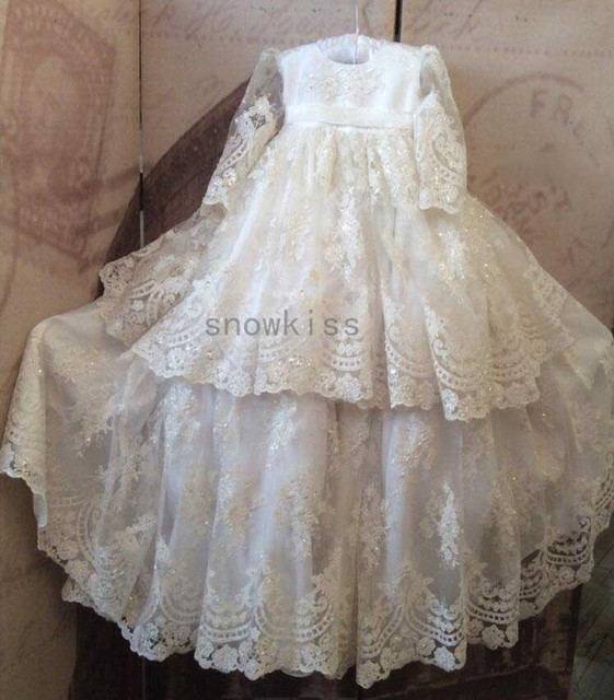 Dazzling Beads Full Sleeves White/Ivory Two Tiered Lace Baby Dress Baptism Gowns for Boys / Girls christening gowns With Bonnet