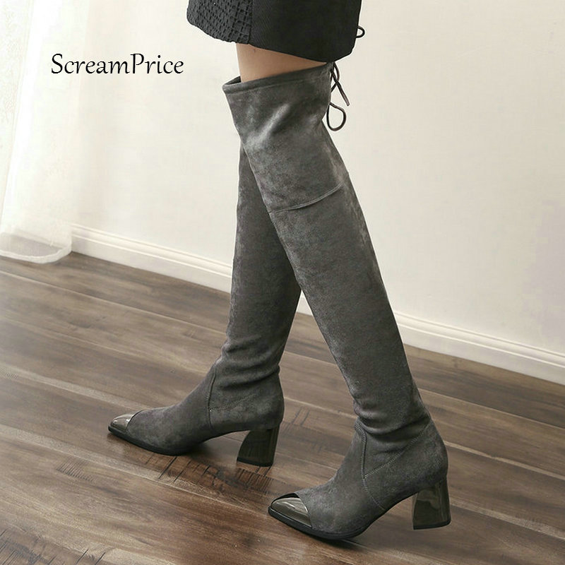 Women Slip On Thick High Heel Over The Knee Boots Fashion Pointed Toe Suede Thigh Elastic Boots Black Gray