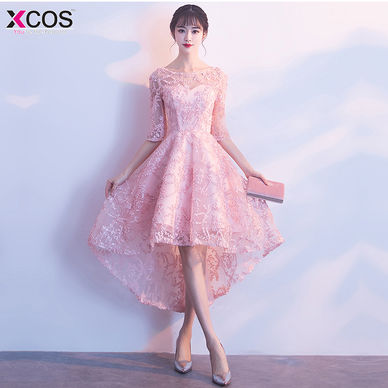 Cocktail     Dresses   Elegant High Low Formal Party   Dress   A-Line Lace Women 2018 Short Vestidos Sexy Pink Graduation   Dress
