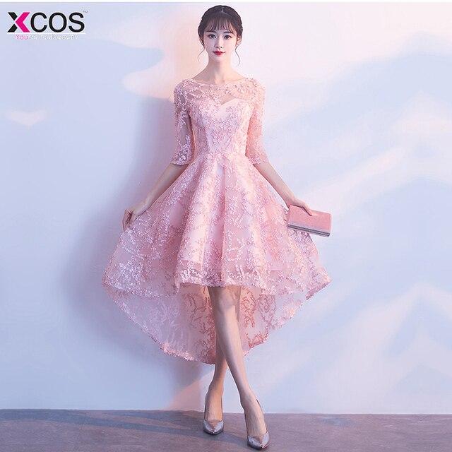 db5ea9090e Vestidos de Cóctel elegante alto bajo Formal vestido de fiesta A-Line Lace  mujeres 2018