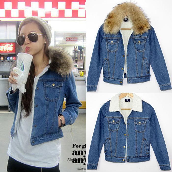 fashion winter denim coat cotton denim sherpa removable fur collar ...