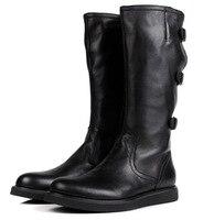 Большой размер EUR 45 модные сапоги выше колена черные мужские ботинки Мотоботинки натуральная кожа мужские зимние ботинки с пряжкой