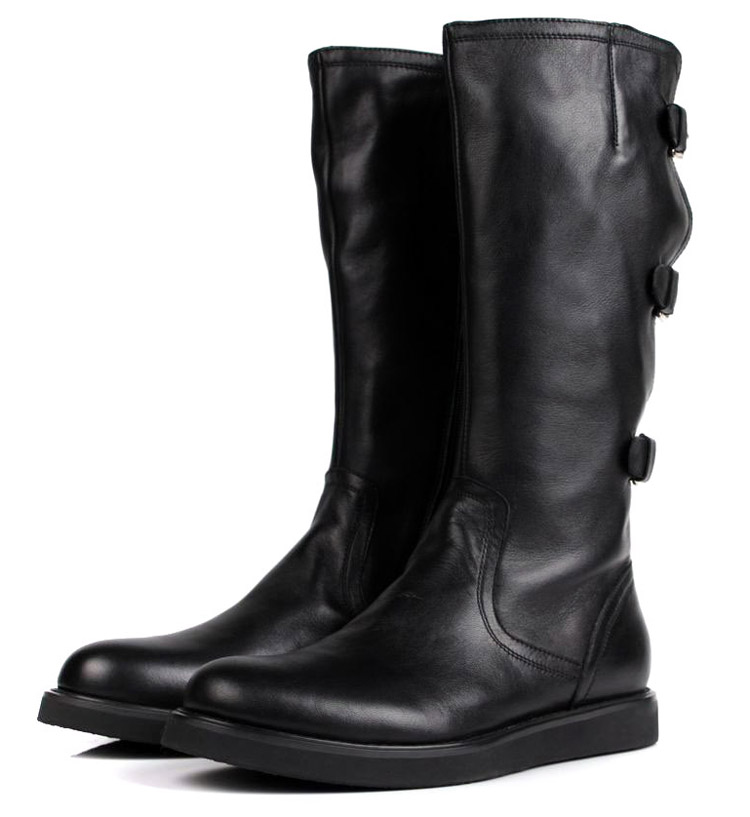 Large size EUR 45 fashion knee high black mens boots ...