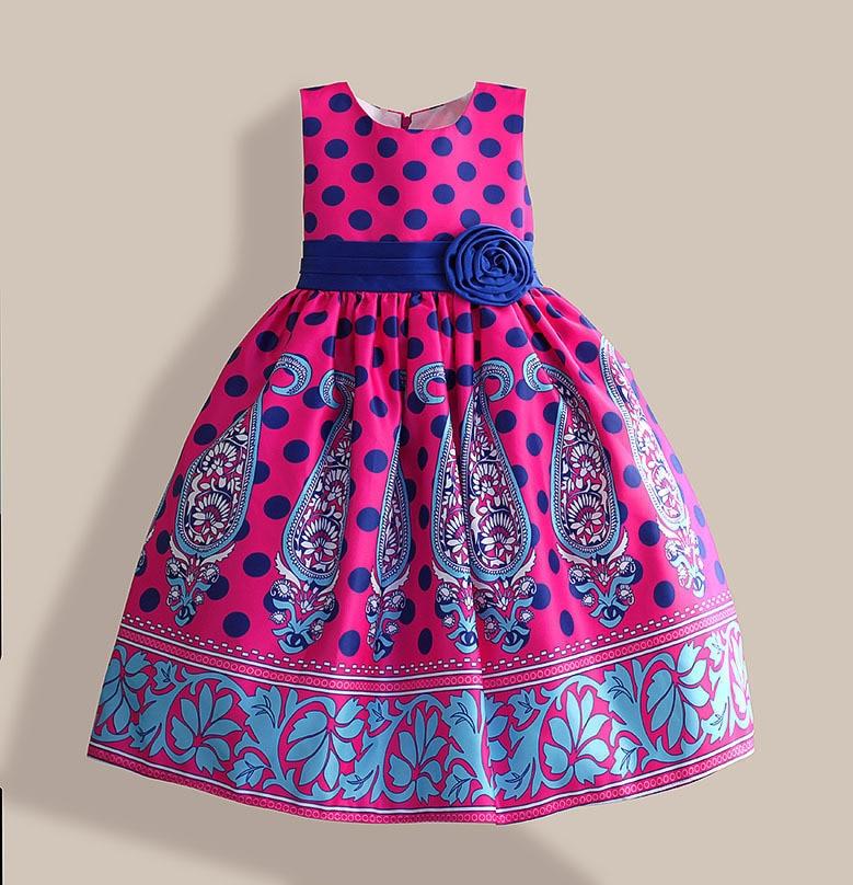 Amazing summer dress Blue Dot Floral Print girl party dress Silk Belt children clothing for 5-10Y vestidos infantis blue sexy plunge v neckline random floral print maxi dress