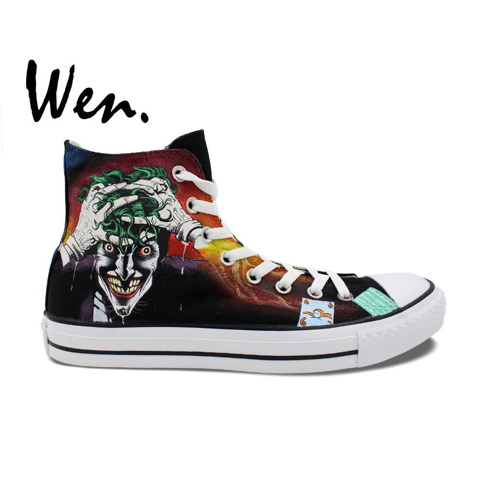 Wen Hand Painted Shoes Joker Design Custom High Top Canvas Sneakers Man Woman's Christmas Birthday Gifts wen hand painted shoes design custom skull zombie men women s high top canvas sneakers for christmas gifts