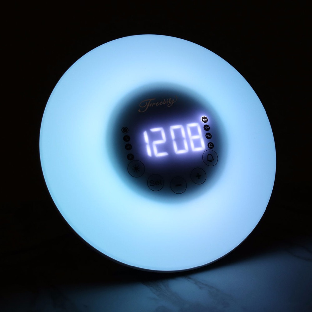 Modern Circular Color Changing Wake-up Light With Sunrise FM Radio Desktop LED electronic alarm clock Home Decorations