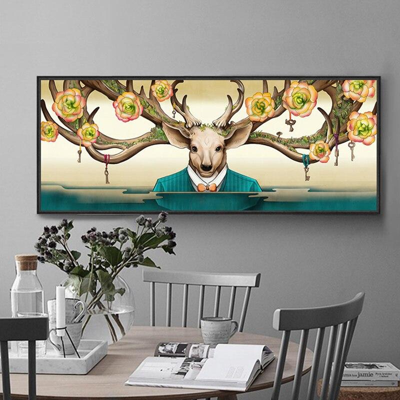 ▻Pintura de la lona de los ciervos pintura carteles e impresiones ...