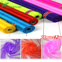 50cmx50m Wedding Party Decoration Sheer Crystal Organza Tulle Roll Fabric Gauze Element Birthday New Year Christmas